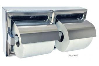 New Jd Macdonald 74022 Double Toilet Roll Holder - Bright Polished Steel Hooded,