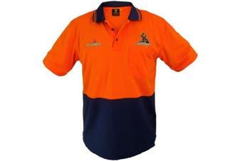New Worknplay Melbourne Storm Nrl Hi-Vis Short Sleeve Polo Orange - Orange/Navy
