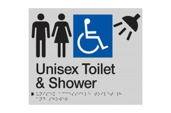New Best Buy Washroom Signage Unisex Accessible Toilet and Shower Sign - Black