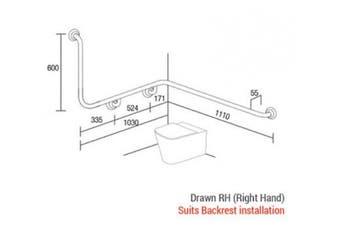 New Con-Serv Clam Toilet Grab Rail 1110 X 1030 X 600Mm - Satin Supreme Right