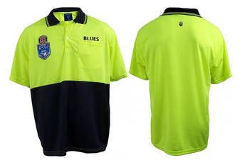 New Worknplay State Of Origin Nsw Blues Hi-Vis Polo - Navy and Yellow Xl