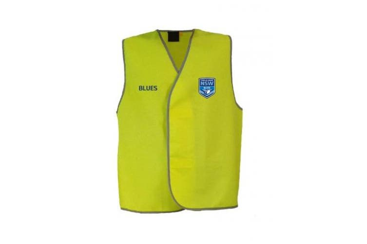 New Worknplay State Of Origin Nsw Blues Hi-Vis Light Weight Vest Yellow 2X Large