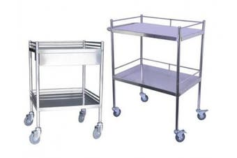 New Brady First Aid Dressing Trolley Stainless Steel - Silver With Draw