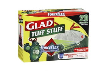 New Glad Forceflex Tuff Stuff Garbage Bags, Drawstring, 55L - Green Carton (8