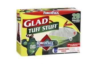 New Glad Forceflex Tuff Stuff Garbage Bags, Drawstring, 55L - Green Carton (8