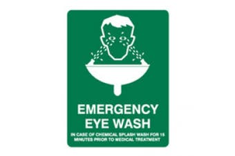 New Brady Safety Signs  Emergency Eye Wash Safety Sign - Green and White -