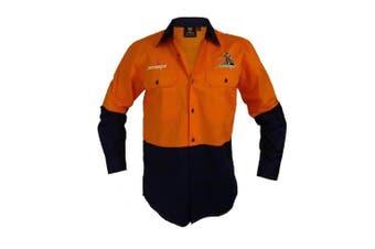 New Worknplay Melbourne Storm Nrl Hi-Vis Long Sleeve Button Shirt Orange Extra