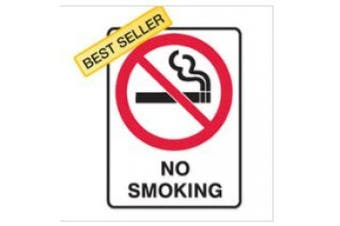 New Brady Prohibition  No Smoking Sign - White/Red/Black - Self Adhesive Sticker