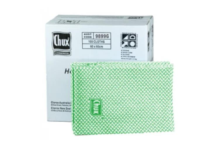 New Chux Superwipes  9899 Cut Sheet Heavy Duty - Green Box Of 100 Cloths