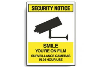 New Brady Security Notice Smile Youre On Film Sign - White/Yellow/Black-Self