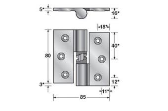New Hafele Partition  Gravity Hinge Single Screw Fix - Zinc Finish Hold Closed -