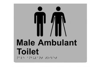 New Rba Stainless Braille Sign Rba4330 Male Ambulant Toilet - Silver/Black -