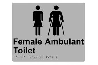 New Rba Stainless Braille Sign Rba4330 Female Ambulant Toilet - Silver/Black -