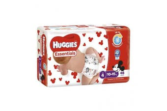 New Huggies Essentials Nappies - Disney Designs Size 4, Carton (46 X 4 Pack)