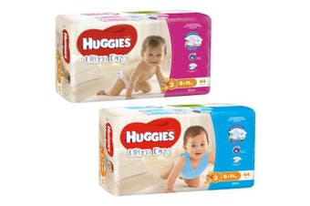 New Huggies Ultradry Essentials Nappies - White Girl Size 4, Carton (18 X 4