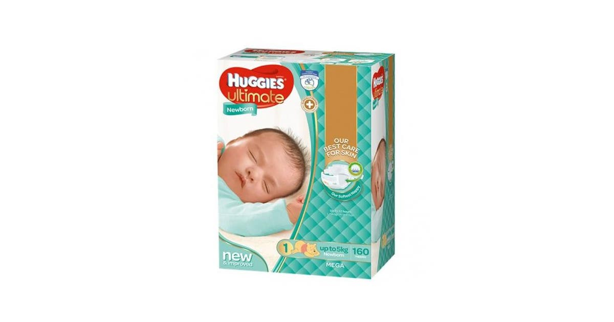 Dick Smith New Huggies Ultimate Nappies Unisex Disney Designs Newborn Size 1 Carton 18 Disposable Nappies