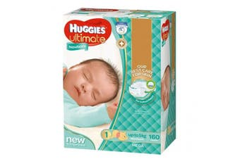 New Huggies Ultimate  Nappies Unisex - Disney Designs Newborn Size 1, Carton (1