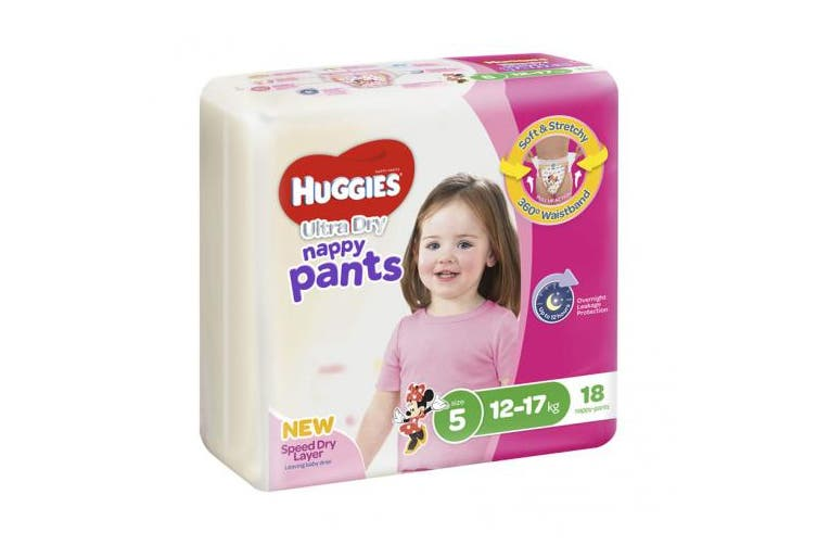 New Huggies Ultradry  Nappy Pants Gender Specific - Disney Designs Girl Size 5,
