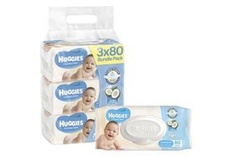 New Huggies Baby Wipes Coconut Oil - White Packs (4 X 80Pk)