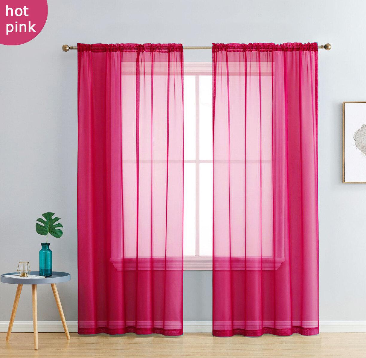 Pair Of Hot Pink Sheer Curtain 140x213cm Rod Pocket Voile Curtains Fuchsia Kogan Com