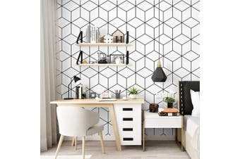 Black White Geometric Abstract Hexagon Wallpaper (Roll)