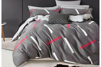 100% Cotton Mist Loveday Grey Quilt Cover Set (King size)