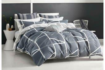 Hailey Grey Quilt Cover 100% Cotton Duvet Cover Set ( Double size )
