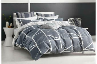 Hailey Grey Quilt Cover 100% Cotton Duvet Cover Set ( King size )