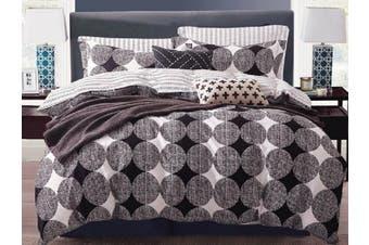 100% Cotton Ella Black White Grey Quilt Cover Set ( King size)