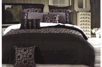 Lyde Black Grey Quilt Cover Duvet Cover Set ( Queen size )