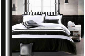 Rossier Gen2 Black White Striped Quilt Cover Set