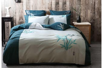 Oriental Bamboo Embroidery Teal Aqua Quilt Cover Set ( Queen size)