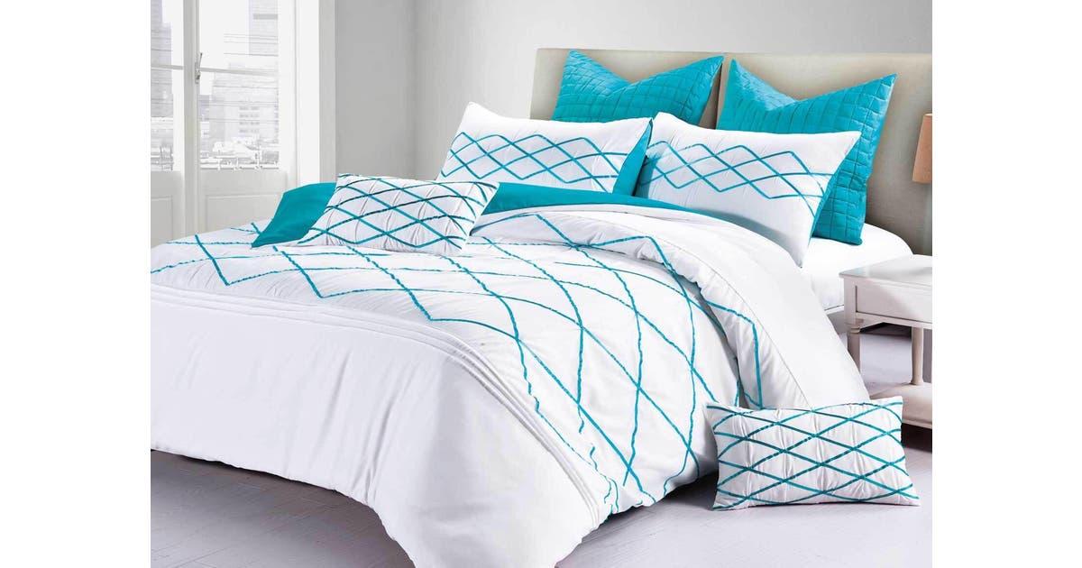 Adela Turqoise Blue Quilt Cover Set, Super King Bedding Set Blue