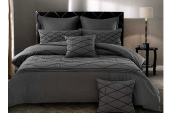 Modern Grey Embroidery Alden Quilt Cover Set (King Size)