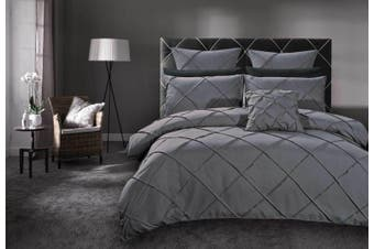Abel Grey Pintuck Quilt Cover Set (Super King size)