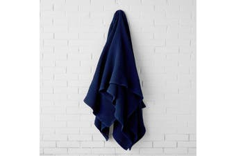 Linen House Cotton Waffle Blanket - Queen King / Navy