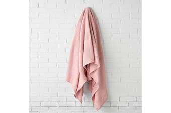 Linen House Cotton Waffle Blanket - Queen King / Blush