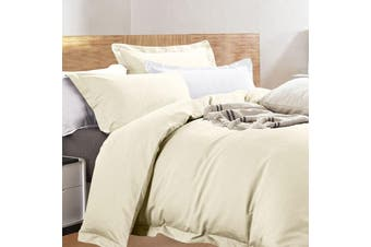 Ramesses Cotton Bamboo Eggnog Ivory Quilt Cover Set - King
