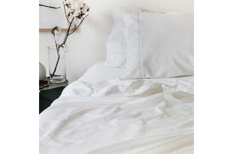 Sienna Living Bamboo Cotton 400 Thread Count Fitted Sheet - Mega Queen / White