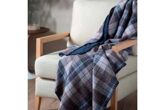 Onkaparinga Australian Wool Denim Checks Blanket - King/Super King
