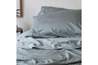 Sienna Living Bamboo Cotton 400 Thread Count Sheet Set 50cm Wall - Mega Queen / Pearl Blue
