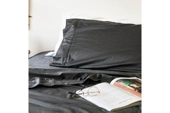 Sienna Living Bamboo Cotton 400 Thread Count Sheet Set 50cm Wall - Mega King / Charcoal