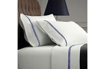 Renee Taylor 1000 Thread Count Signature Egyptian Cotton Sheet Set - Mega Queen / Navy/White