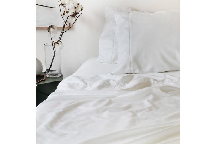 Sienna Living Bamboo Cotton 400 Thread Count Sheet Set - Split King / White