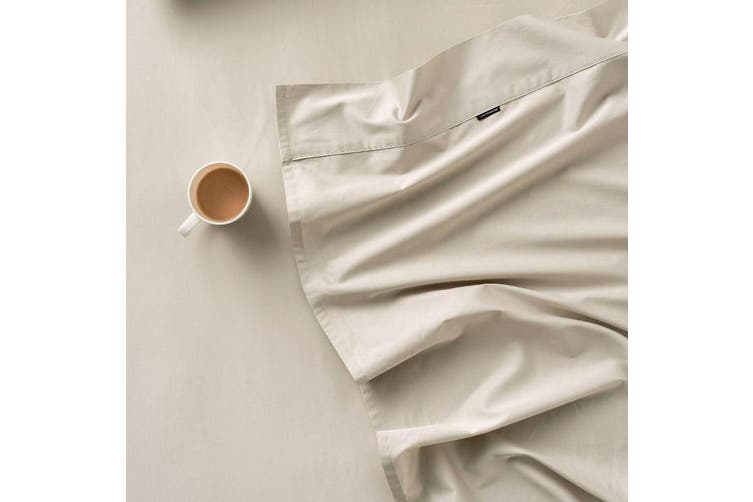 Linen House Augusta 500 Thread Count Cotton Fitted Sheet - Long Single / Taupe