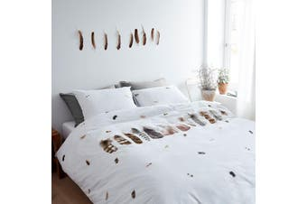 Bedding House Wild Feathers White Quilt Cover Set