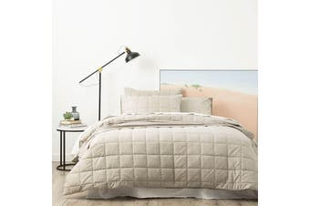 Park Avenue Paradis Washed Chambray Taupe Quilted Quilt Cover Set