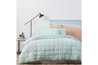 Park Avenue Paradis Washed Chambray Fresh Mint Quilted Quilt Cover Set