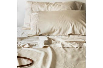 Sienna Living Bamboo Cotton 400 Thread Count Sheet Set 50cm Wall - Mega Queen / Eggnog
