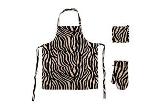 Set of 3 Cotton Linen Zebra Kitchen Set